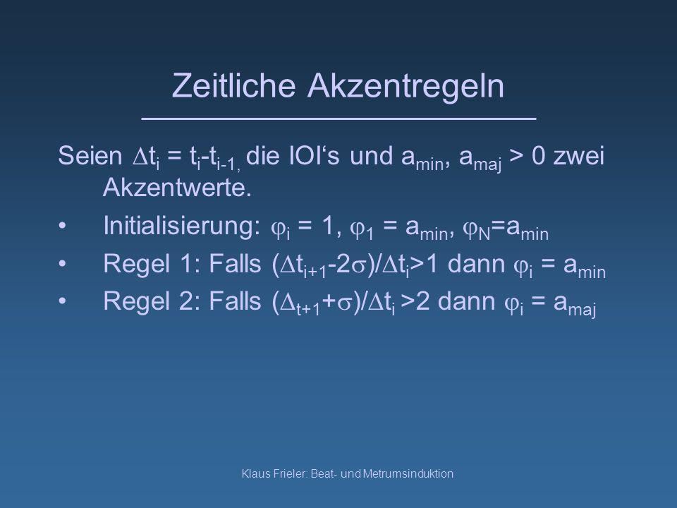 Klaus Frieler: Beat- und Metrumsinduktion Zeitliche Akzentregeln Seien t i = t i -t i-1, die IOIs und a min, a maj > 0 zwei Akzentwerte.
