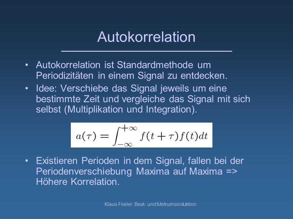 Klaus Frieler: Beat- und Metrumsinduktion Autokorrelation Autokorrelation ist Standardmethode um Periodizitäten in einem Signal zu entdecken.