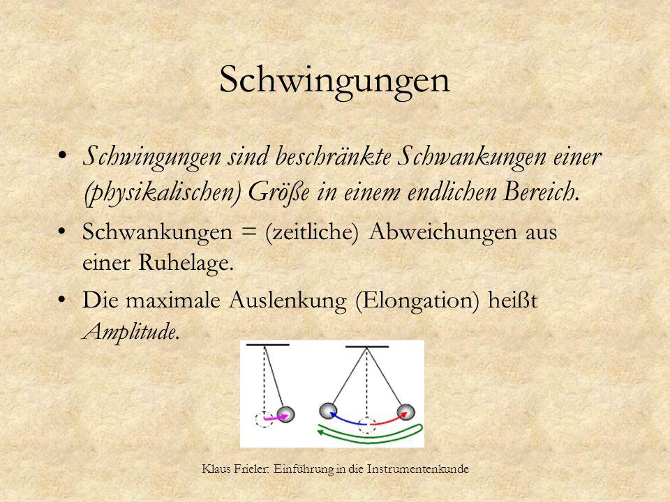 Klaus Frieler: Einführung in die Instrumentenkunde Schwingungen Schwingungen sind beschränkte Schwankungen einer (physikalischen) Größe in einem endli
