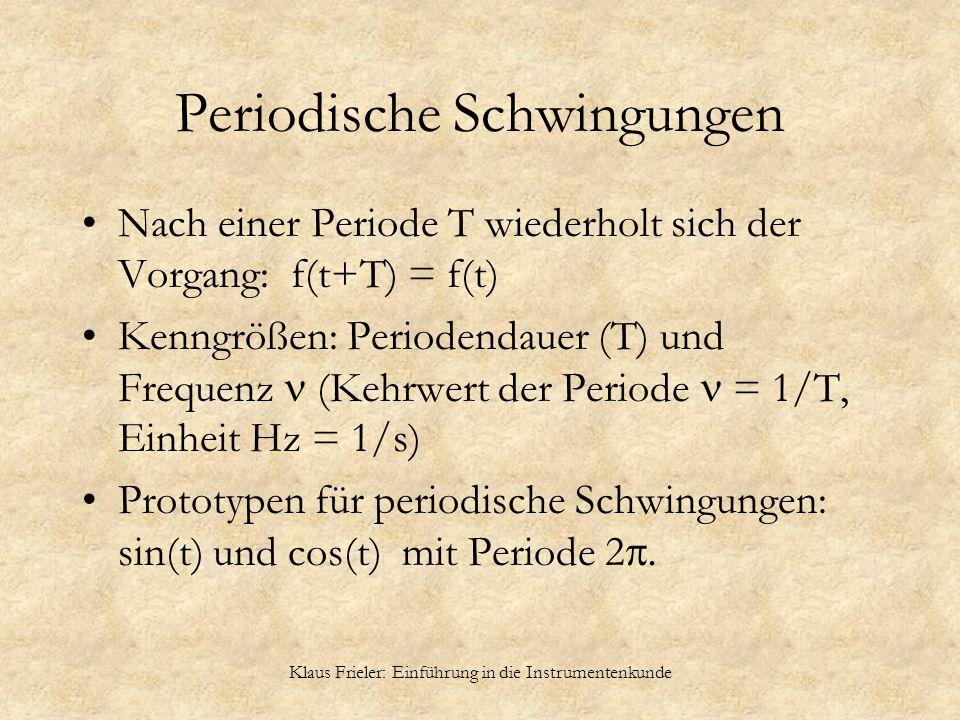 Klaus Frieler: Einführung in die Instrumentenkunde Periodische Schwingungen Nach einer Periode T wiederholt sich der Vorgang: f(t+T) = f(t) Kenngrößen