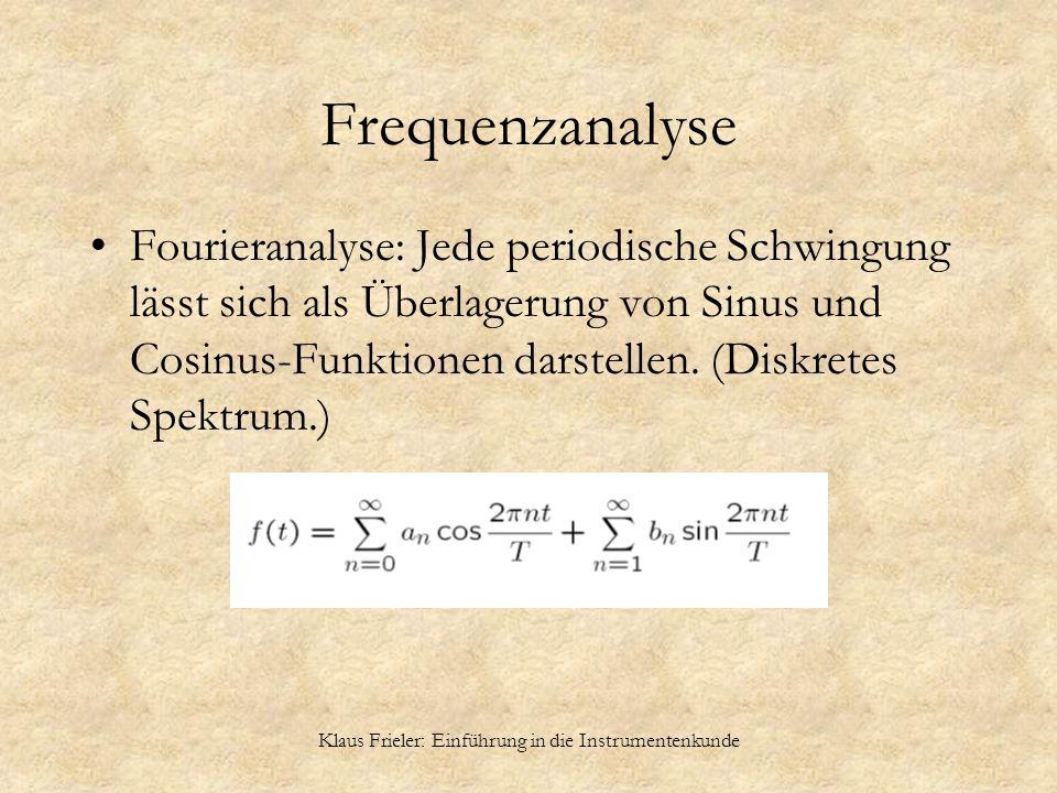Klaus Frieler: Einführung in die Instrumentenkunde Frequenzanalyse Fourieranalyse: Jede periodische Schwingung lässt sich als Überlagerung von Sinus u