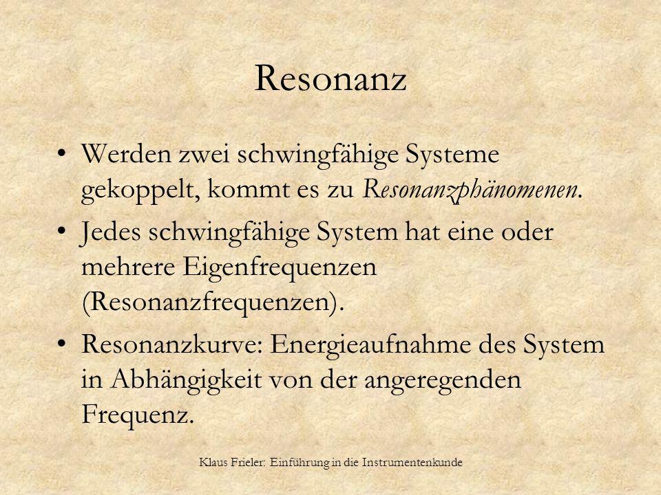 Klaus Frieler: Einführung in die Instrumentenkunde Resonanz Werden zwei schwingfähige Systeme gekoppelt, kommt es zu Resonanzphänomenen. Jedes schwing
