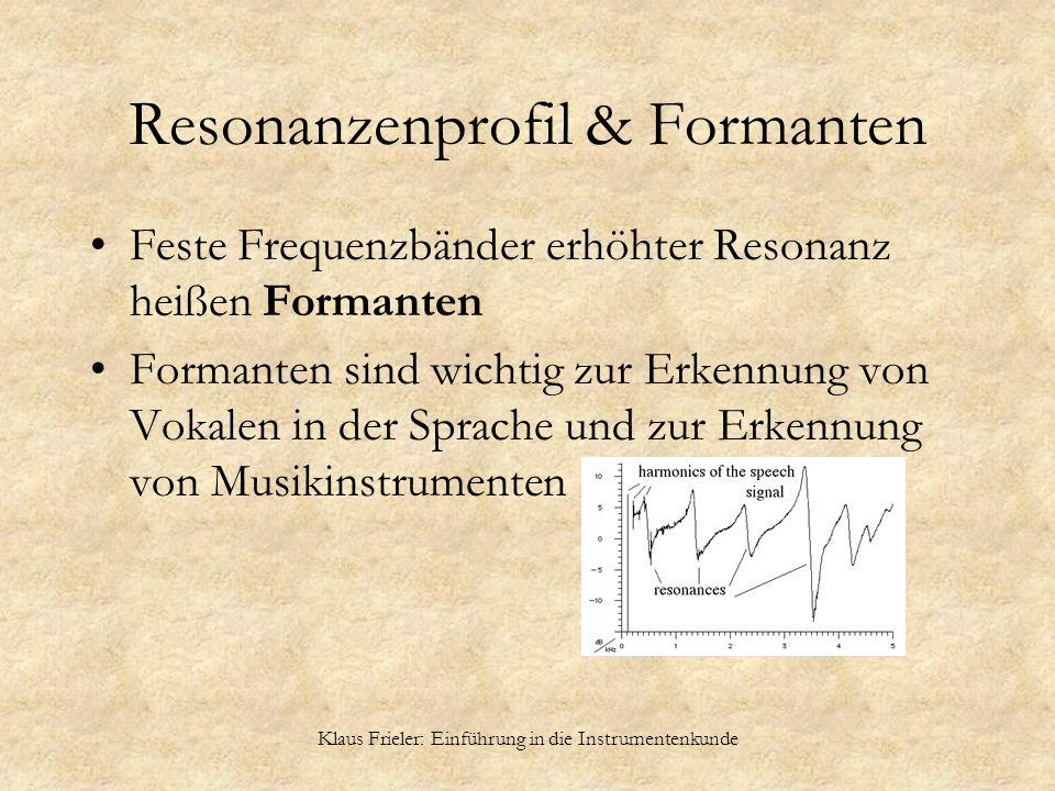 Klaus Frieler: Einführung in die Instrumentenkunde Resonanzenprofil & Formanten Feste Frequenzbänder erhöhter Resonanz heißen Formanten Formanten sind