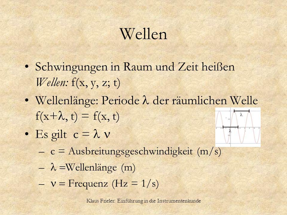 Klaus Frieler: Einführung in die Instrumentenkunde Wellen Schwingungen in Raum und Zeit heißen Wellen: f(x, y, z; t) Wellenlänge: Periode der räumlich