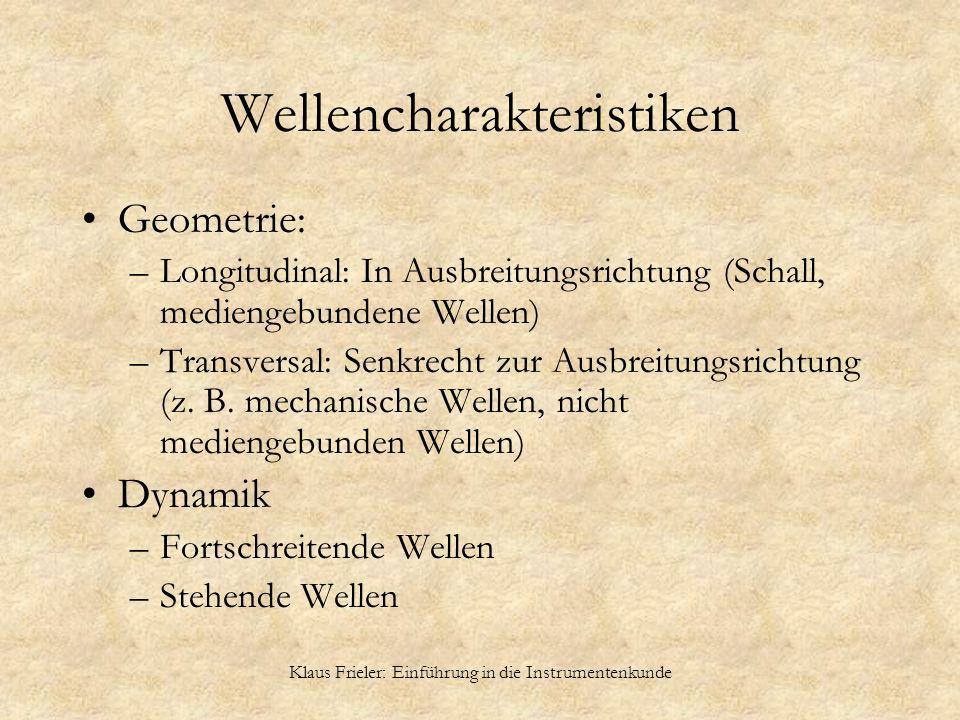 Klaus Frieler: Einführung in die Instrumentenkunde Wellencharakteristiken Geometrie: –Longitudinal: In Ausbreitungsrichtung (Schall, mediengebundene W