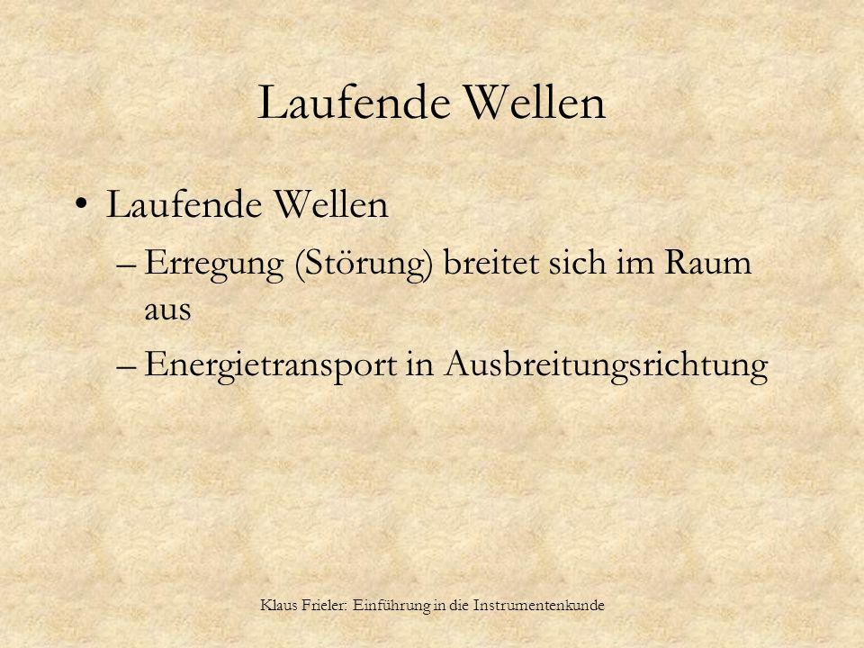 Klaus Frieler: Einführung in die Instrumentenkunde Laufende Wellen –Erregung (Störung) breitet sich im Raum aus –Energietransport in Ausbreitungsricht