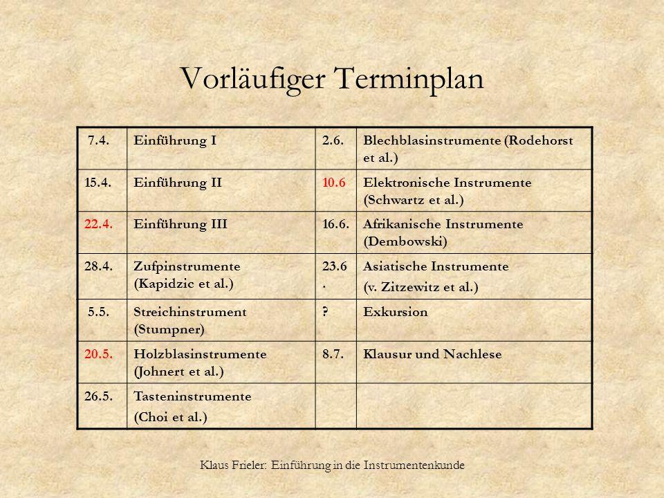 Klaus Frieler: Einführung in die Instrumentenkunde Vorläufiger Terminplan 7.4.Einführung I2.6.Blechblasinstrumente (Rodehorst et al.) 15.4.Einführung