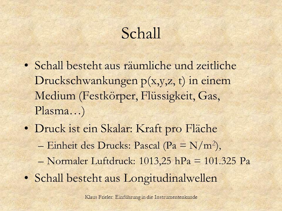 Klaus Frieler: Einführung in die Instrumentenkunde Schall Schall besteht aus räumliche und zeitliche Druckschwankungen p(x,y,z, t) in einem Medium (Fe