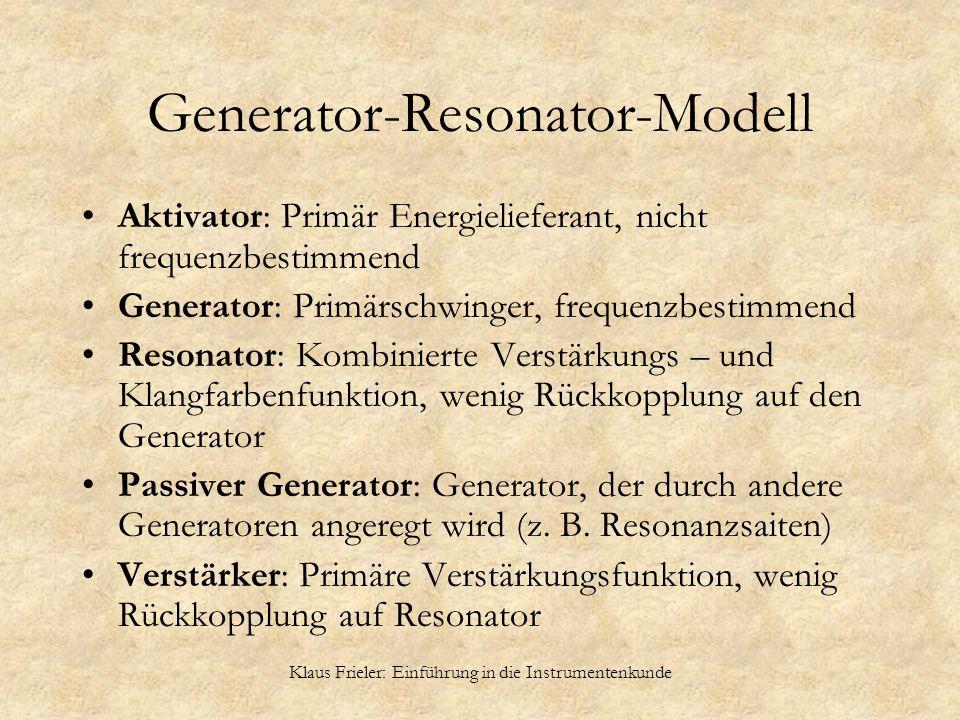 Klaus Frieler: Einführung in die Instrumentenkunde Generator-Resonator-Modell Aktivator: Primär Energielieferant, nicht frequenzbestimmend Generator: