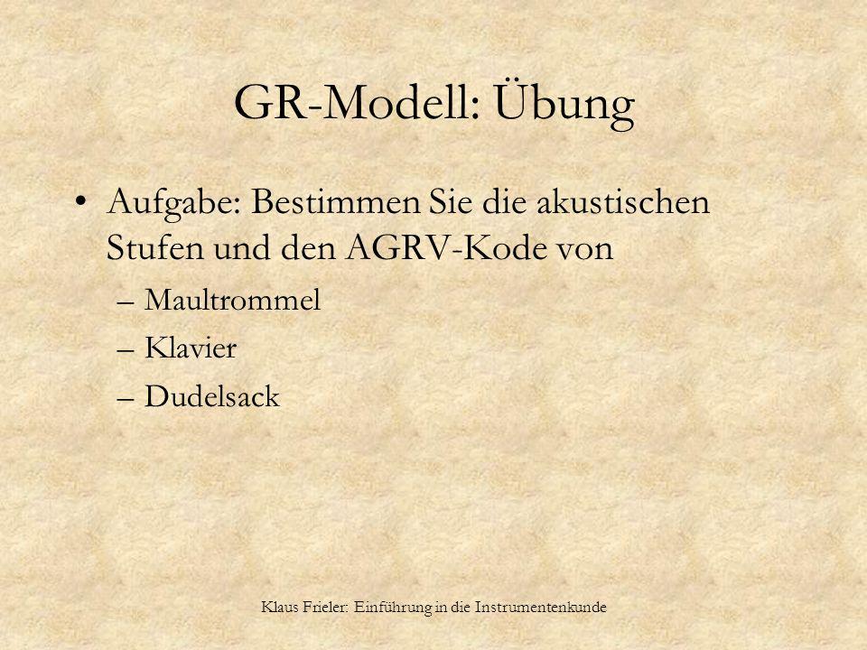 Klaus Frieler: Einführung in die Instrumentenkunde GR-Modell: Übung Aufgabe: Bestimmen Sie die akustischen Stufen und den AGRV-Kode von –Maultrommel –