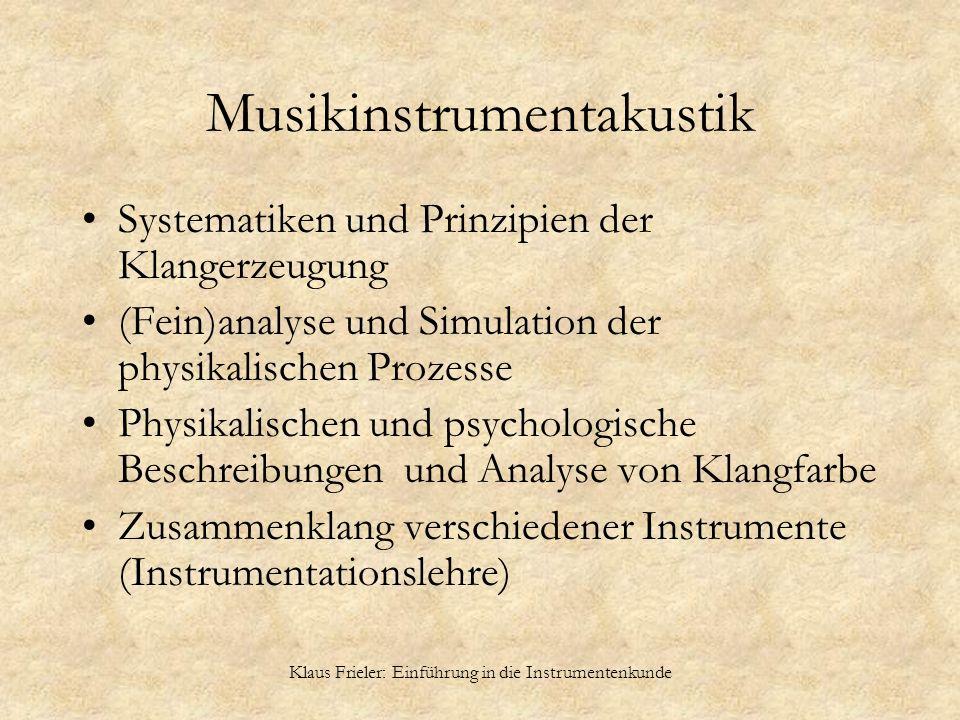 Klaus Frieler: Einführung in die Instrumentenkunde Musikinstrumentakustik Systematiken und Prinzipien der Klangerzeugung (Fein)analyse und Simulation