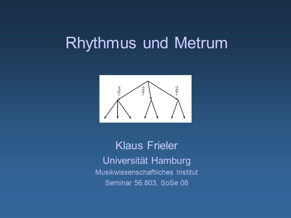 Rhythmus und Metrum Klaus Frieler Universität Hamburg Musikwissenschaftliches Institut Seminar 56.803, SoSe 08