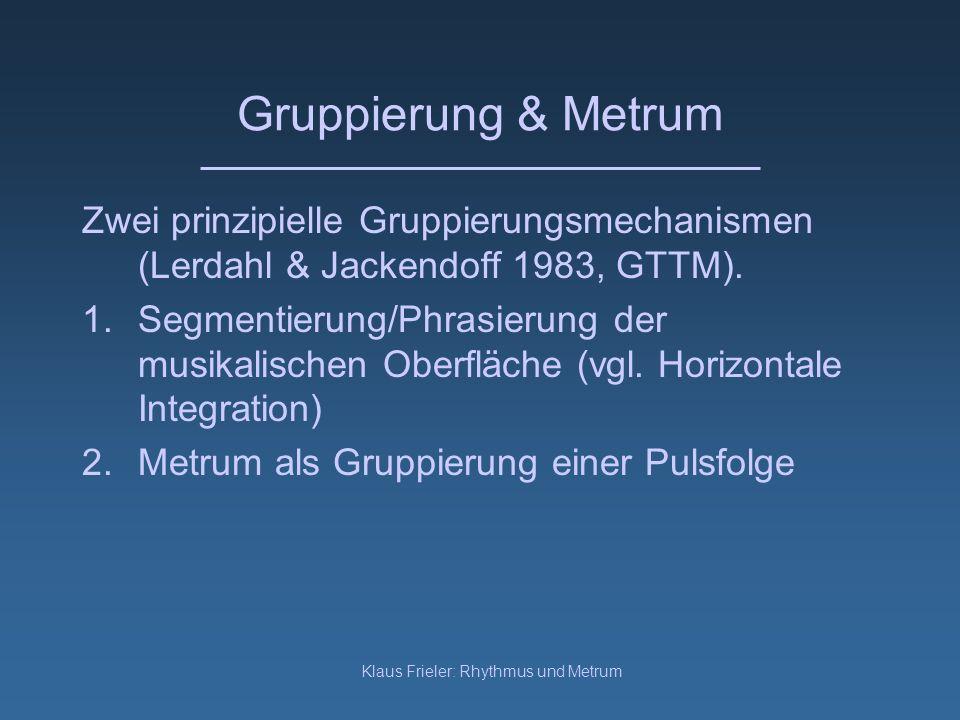 Klaus Frieler: Rhythmus und Metrum Gruppierung & Metrum Zwei prinzipielle Gruppierungsmechanismen (Lerdahl & Jackendoff 1983, GTTM). 1.Segmentierung/P