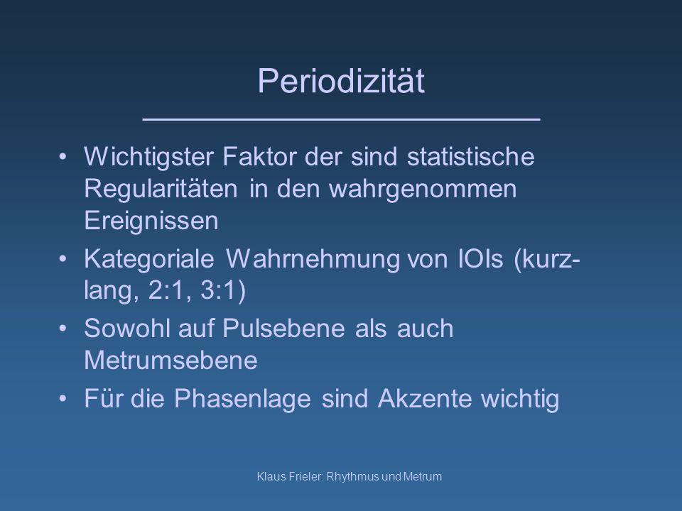 Klaus Frieler: Rhythmus und Metrum Periodizität Wichtigster Faktor der sind statistische Regularitäten in den wahrgenommen Ereignissen Kategoriale Wah