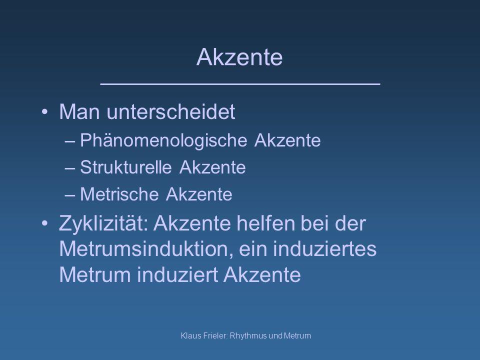 Klaus Frieler: Rhythmus und Metrum Akzente Man unterscheidet –Phänomenologische Akzente –Strukturelle Akzente –Metrische Akzente Zyklizität: Akzente h