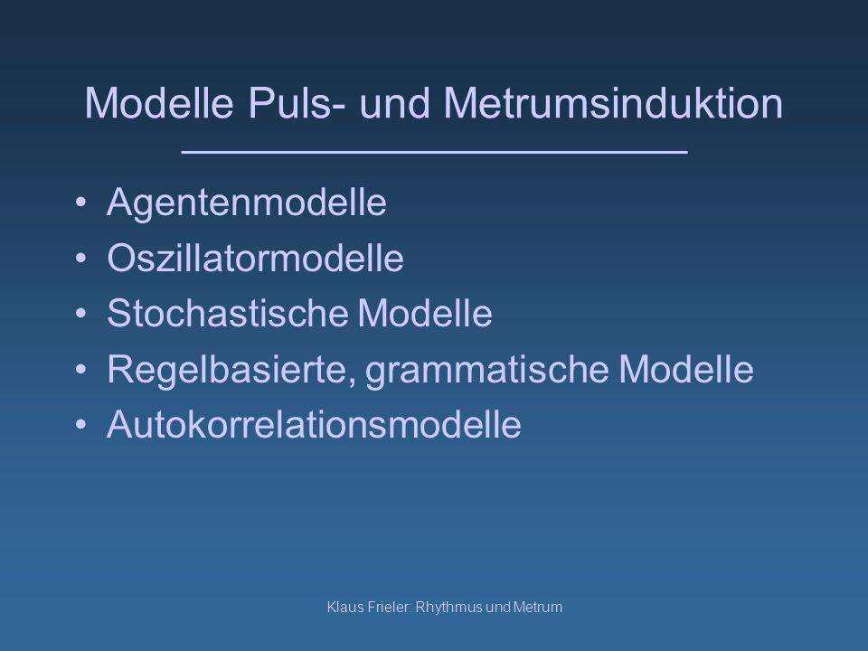 Klaus Frieler: Rhythmus und Metrum Modelle Puls- und Metrumsinduktion Agentenmodelle Oszillatormodelle Stochastische Modelle Regelbasierte, grammatisc