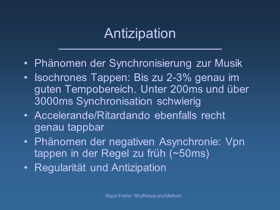 Klaus Frieler: Rhythmus und Metrum Antizipation Phänomen der Synchronisierung zur Musik Isochrones Tappen: Bis zu 2-3% genau im guten Tempobereich. Un