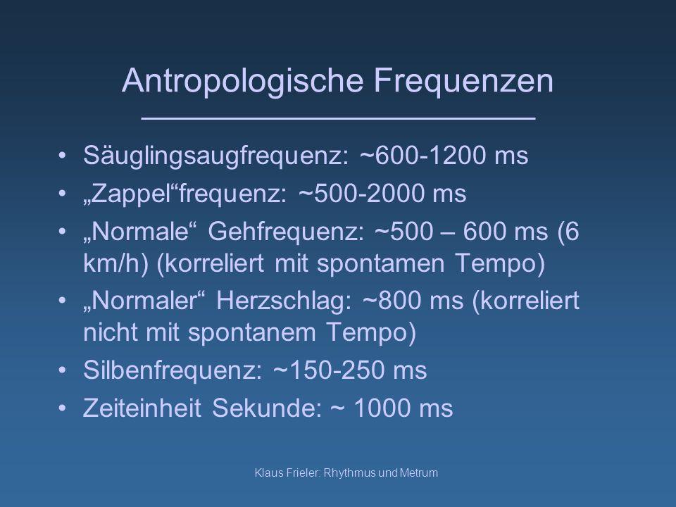 Klaus Frieler: Rhythmus und Metrum Antropologische Frequenzen Säuglingsaugfrequenz: ~600-1200 ms Zappelfrequenz: ~500-2000 ms Normale Gehfrequenz: ~50