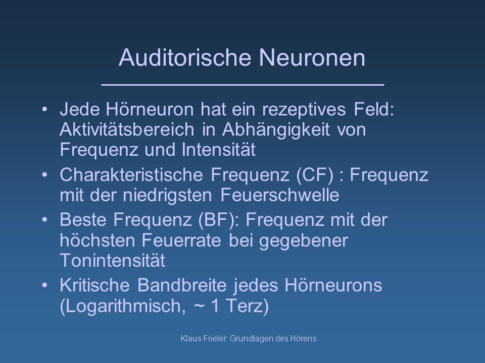 Klaus Frieler: Grundlagen des Hörens Auditorische Neuronen Jede Hörneuron hat ein rezeptives Feld: Aktivitätsbereich in Abhängigkeit von Frequenz und