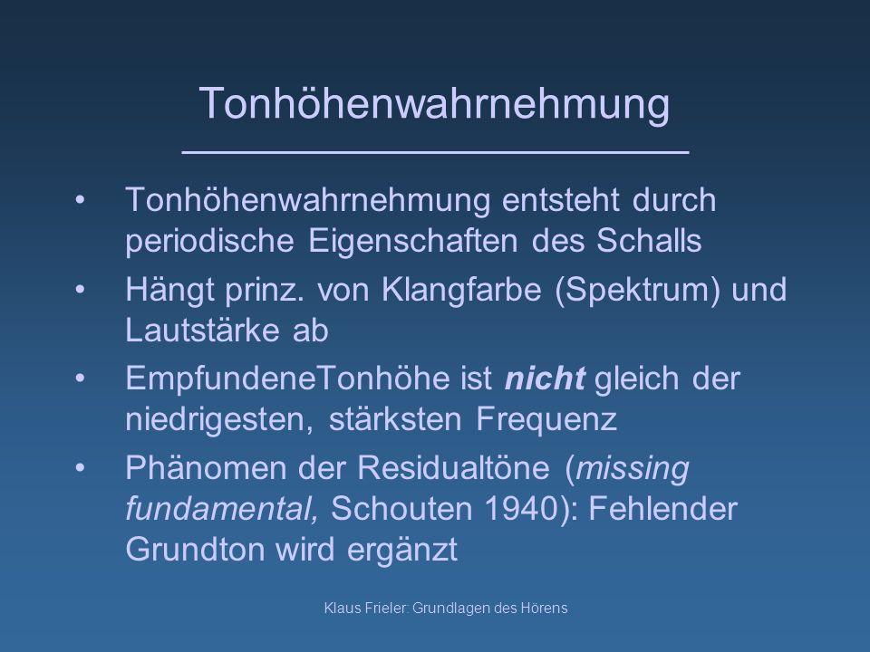Klaus Frieler: Grundlagen des Hörens Tonhöhenwahrnehmung Tonhöhenwahrnehmung entsteht durch periodische Eigenschaften des Schalls Hängt prinz. von Kla