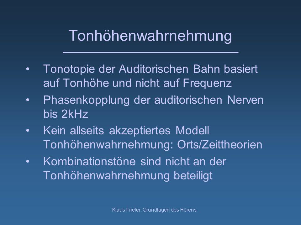 Klaus Frieler: Grundlagen des Hörens Tonhöhenwahrnehmung Tonotopie der Auditorischen Bahn basiert auf Tonhöhe und nicht auf Frequenz Phasenkopplung de