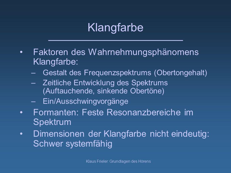 Klaus Frieler: Grundlagen des Hörens Klangfarbe Faktoren des Wahrnehmungsphänomens Klangfarbe: –Gestalt des Frequenzspektrums (Obertongehalt) –Zeitlic