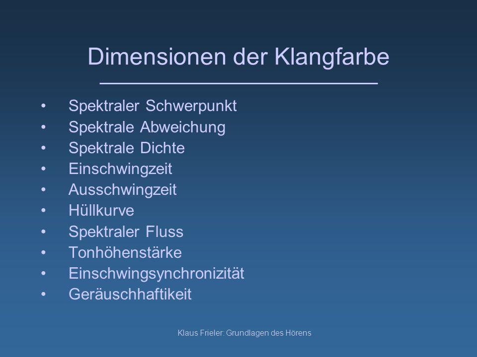Klaus Frieler: Grundlagen des Hörens Dimensionen der Klangfarbe Spektraler Schwerpunkt Spektrale Abweichung Spektrale Dichte Einschwingzeit Ausschwing