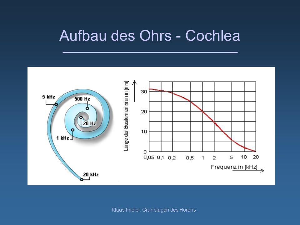 Klaus Frieler: Grundlagen des Hörens Aufbau des Ohrs - Cochlea