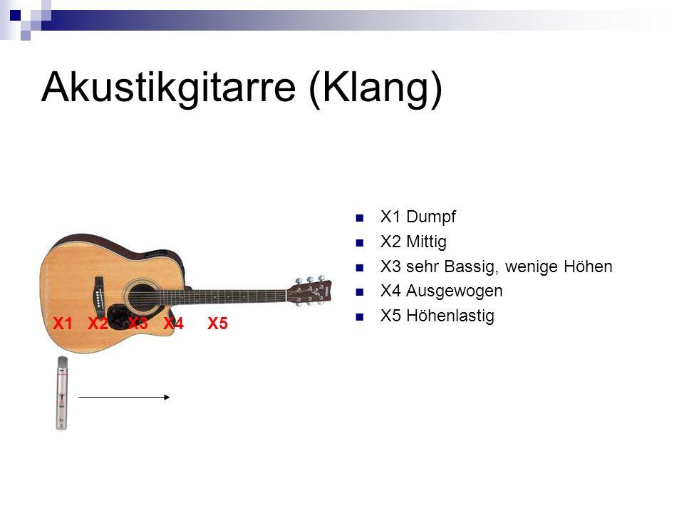 Akustikgitarre (Klang) X1 Dumpf X2 Mittig X3 sehr Bassig, wenige Höhen X4 Ausgewogen X5 Höhenlastig X1 X2 X3 X4 X5