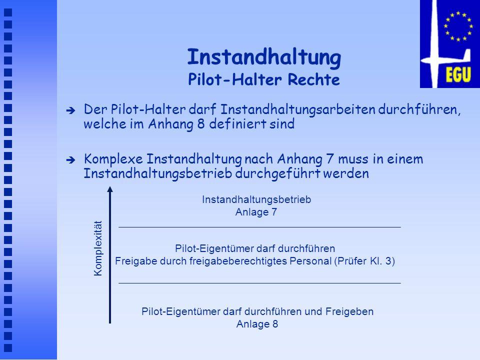 Instandhaltung Pilot-Halter Rechte è Der Pilot-Halter darf Instandhaltungsarbeiten durchführen, welche im Anhang 8 definiert sind è Komplexe Instandha