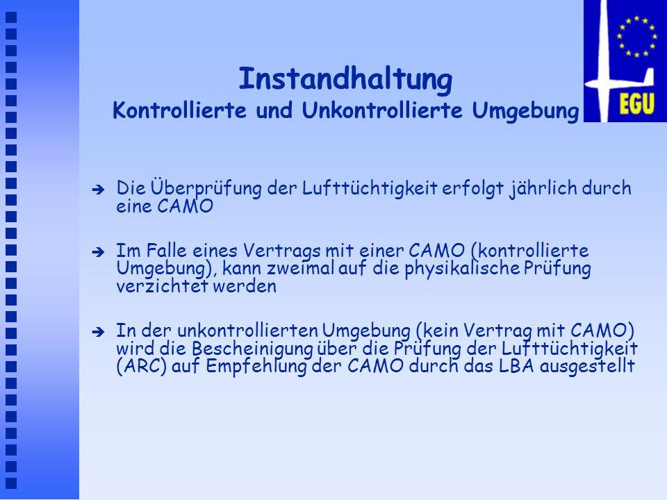 Instandhaltung Kontrollierte und Unkontrollierte Umgebung è Die Überprüfung der Lufttüchtigkeit erfolgt jährlich durch eine CAMO è Im Falle eines Vert