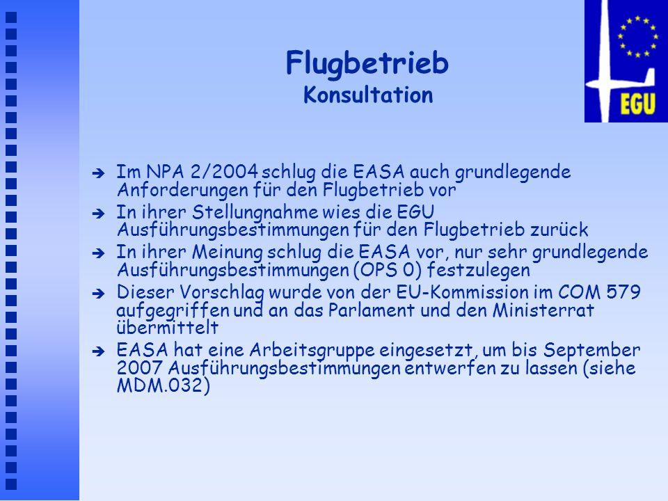 Flugbetrieb Konsultation è Im NPA 2/2004 schlug die EASA auch grundlegende Anforderungen für den Flugbetrieb vor è In ihrer Stellungnahme wies die EGU