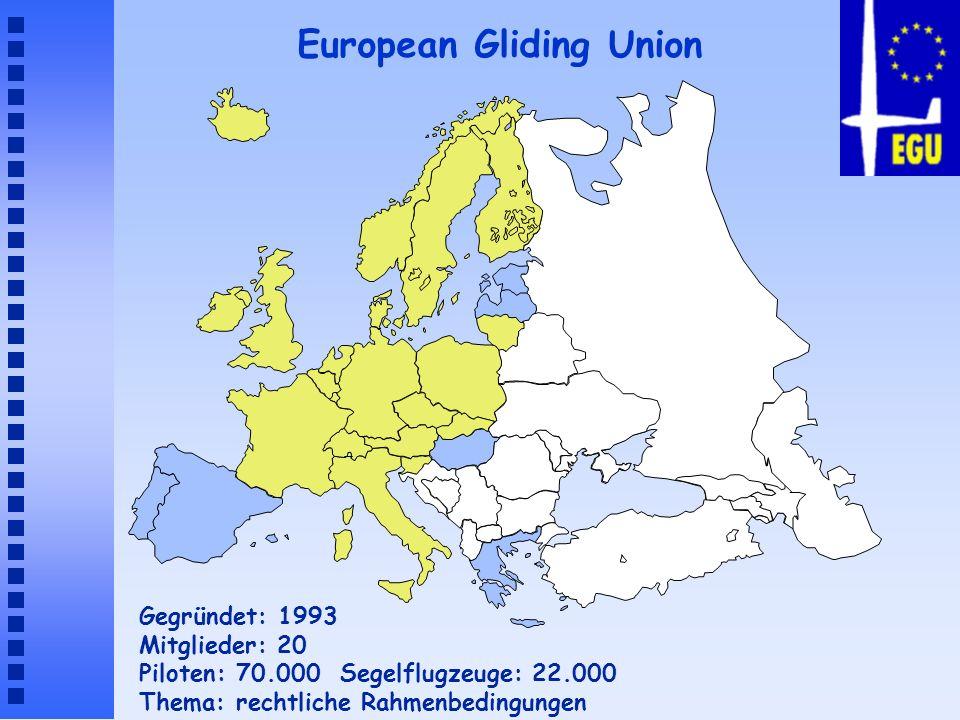 European Gliding Union Gegründet: 1993 Mitglieder: 20 Piloten: 70.000 Segelflugzeuge: 22.000 Thema: rechtliche Rahmenbedingungen