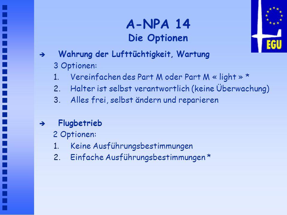 A-NPA 14 Die Optionen è Wahrung der Lufttüchtigkeit, Wartung 3 Optionen: 1.Vereinfachen des Part M oder Part M « light » * 2.Halter ist selbst verantw