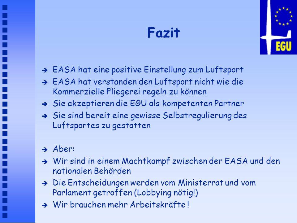 Fazit è EASA hat eine positive Einstellung zum Luftsport è EASA hat verstanden den Luftsport nicht wie die Kommerzielle Fliegerei regeln zu können è S