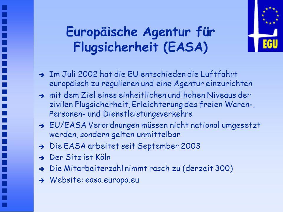Europäische Agentur für Flugsicherheit (EASA) è Im Juli 2002 hat die EU entschieden die Luftfahrt europäisch zu regulieren und eine Agentur einzuricht