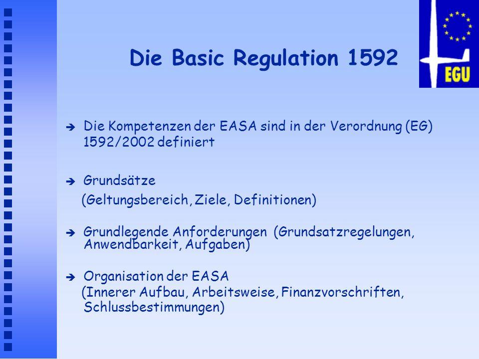 Die Basic Regulation 1592 è Die Kompetenzen der EASA sind in der Verordnung (EG) 1592/2002 definiert è Grundsätze (Geltungsbereich, Ziele, Definitione