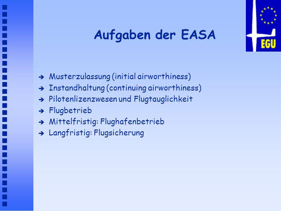 Aufgaben der EASA è Musterzulassung (initial airworthiness) è Instandhaltung (continuing airworthiness) è Pilotenlizenzwesen und Flugtauglichkeit è Fl