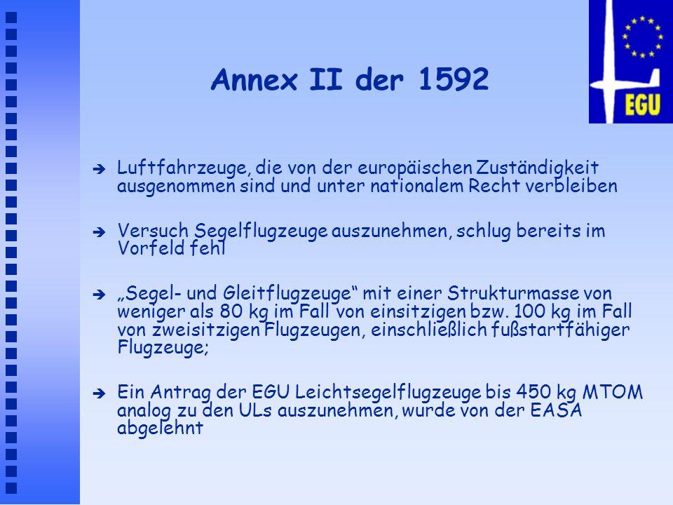 Annex II der 1592 è Luftfahrzeuge, die von der europäischen Zuständigkeit ausgenommen sind und unter nationalem Recht verbleiben è Versuch Segelflugze