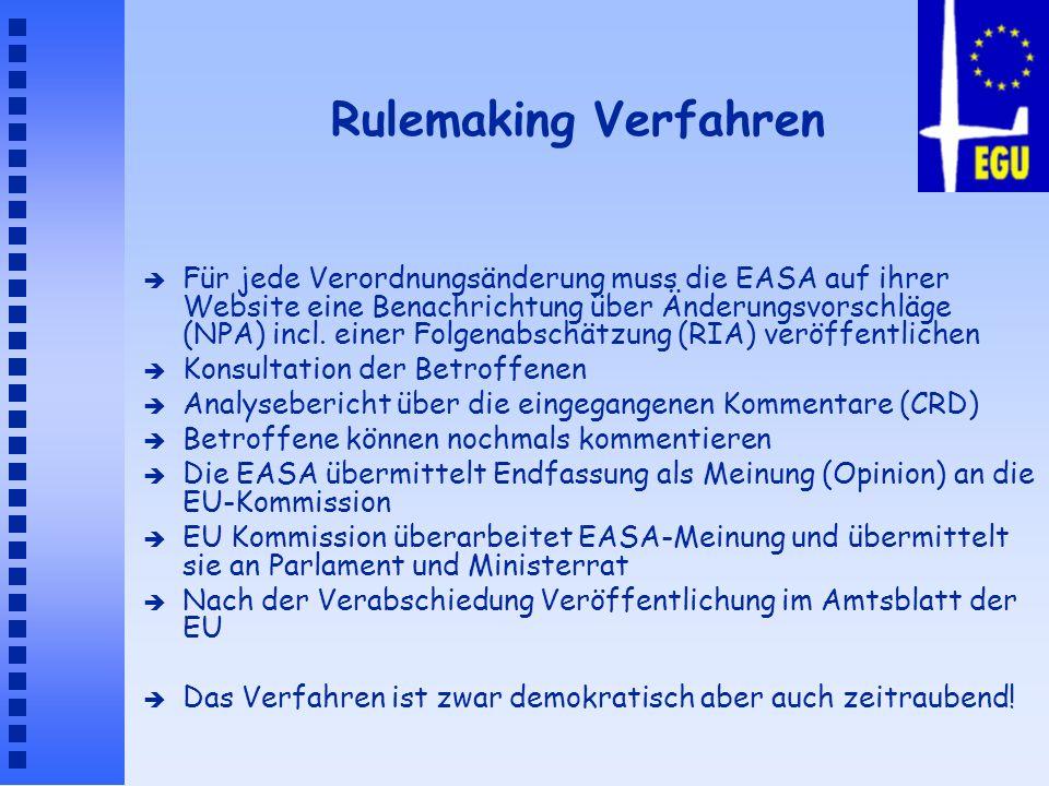Rulemaking Verfahren è Für jede Verordnungsänderung muss die EASA auf ihrer Website eine Benachrichtung über Änderungsvorschläge (NPA) incl. einer Fol