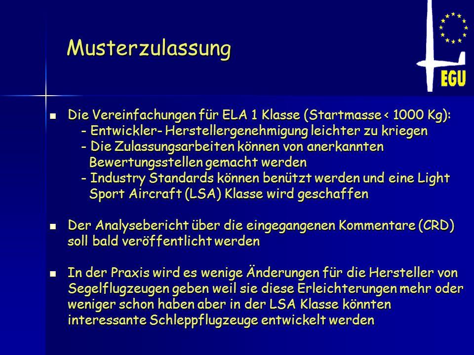 Musterzulassung Die Vereinfachungen für ELA 1 Klasse (Startmasse < 1000 Kg): Die Vereinfachungen für ELA 1 Klasse (Startmasse < 1000 Kg): - Entwickler