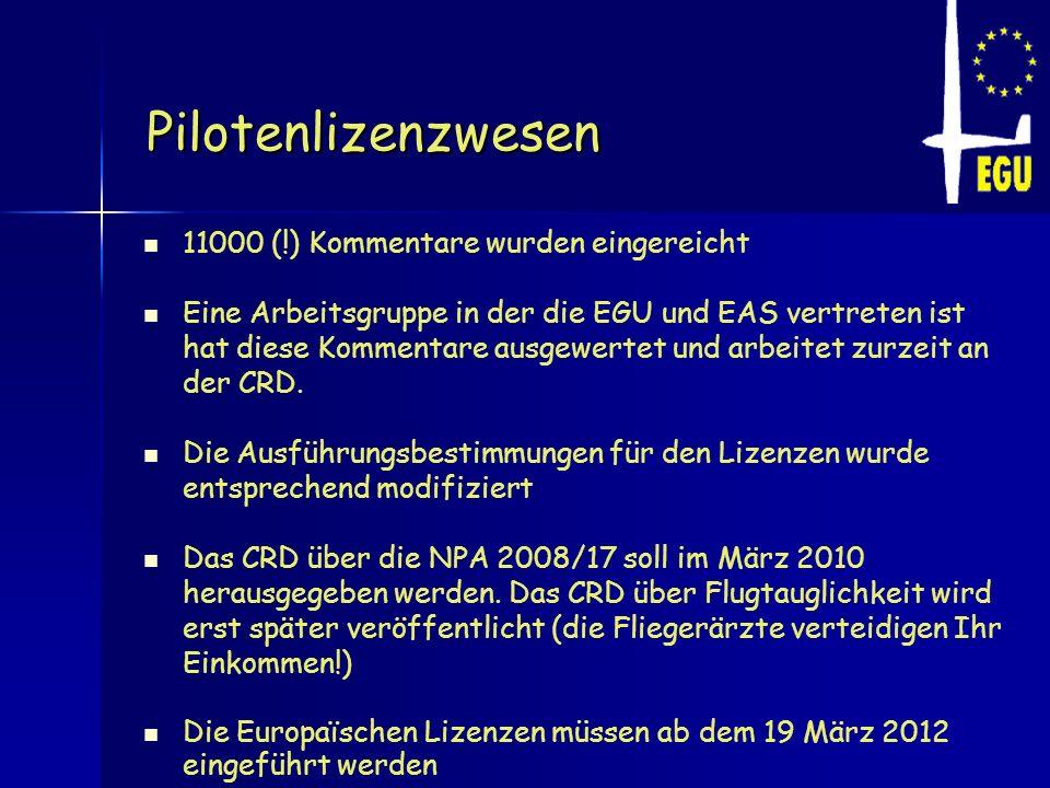 Pilotenlizenzwesen 11000 (!) Kommentare wurden eingereicht Eine Arbeitsgruppe in der die EGU und EAS vertreten ist hat diese Kommentare ausgewertet un