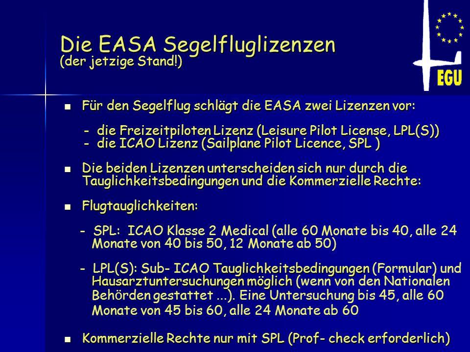 Die EASA Segelfluglizenzen (der jetzige Stand!) Für den Segelflug schlägt die EASA zwei Lizenzen vor: Für den Segelflug schlägt die EASA zwei Lizenzen