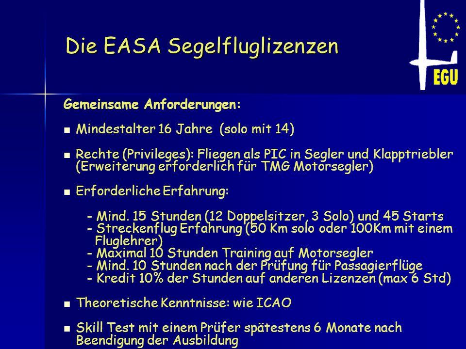 Die EASA Segelfluglizenzen Gemeinsame Anforderungen: Mindestalter 16 Jahre (solo mit 14) Rechte (Privileges): Fliegen als PIC in Segler und Klapptrieb