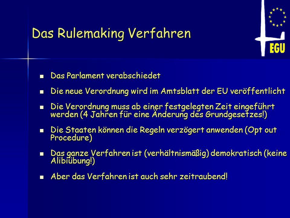 Das Rulemaking Verfahren Das Parlament verabschiedet Das Parlament verabschiedet Die neue Verordnung wird im Amtsblatt der EU veröffentlicht Die neue