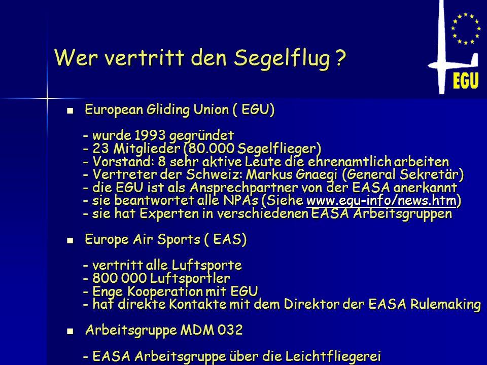 Wer vertritt den Segelflug ? European Gliding Union ( EGU) European Gliding Union ( EGU) - wurde 1993 gegründet - wurde 1993 gegründet - 23 Mitglieder