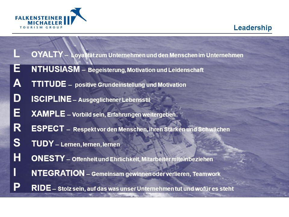 L OYALTY – Loyalität zum Unternehmen und den Menschen im Unternehmen E NTHUSIASM – Begeisterung, Motivation und Leidenschaft A TTITUDE – positive Grun
