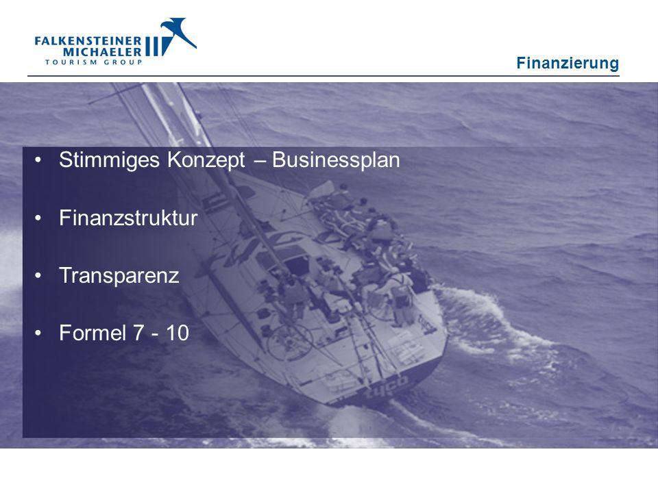Stimmiges Konzept – Businessplan Finanzstruktur Transparenz Formel 7 - 10 Finanzierung