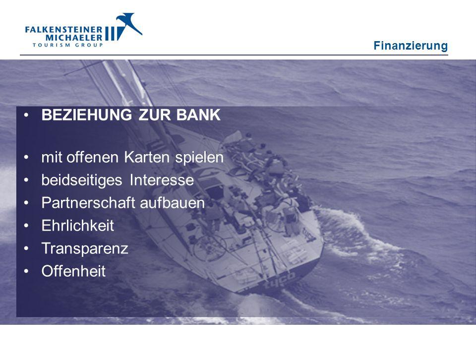 BEZIEHUNG ZUR BANK mit offenen Karten spielen beidseitiges Interesse Partnerschaft aufbauen Ehrlichkeit Transparenz Offenheit Finanzierung