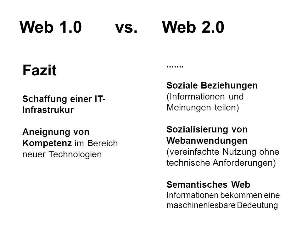 Web 1.0 vs. Web 2.0 Fazit Schaffung einer IT- Infrastrukur Aneignung von Kompetenz im Bereich neuer Technologien....... Soziale Beziehungen (Informati